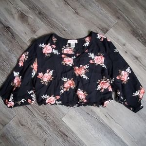 Band of Gypsies Floral Button Up Crop Top